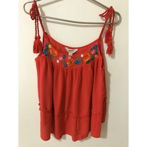 4/$25 Arizona jeans Co red flowery tank top